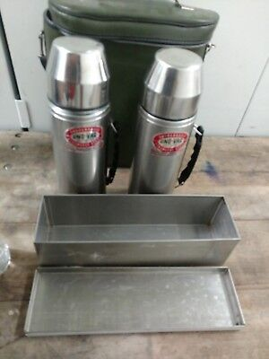 UNO-VAC Stainless Steel 2 Quart Thermos Set with Carrying Case & Storage Box