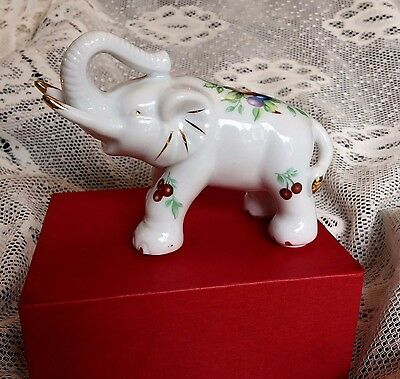 White Floral ELEPHANT FIGURINE Orchard Collection 2002 REGENCY Ornament Boxed