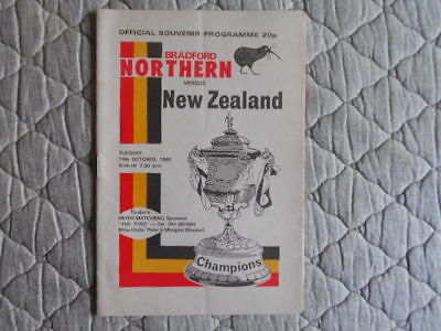 Bradford Northern V New Zealand Rugby League Match Programme 1980