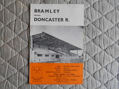 Bramley V Doncaster Rugby League Match Programme March 1967