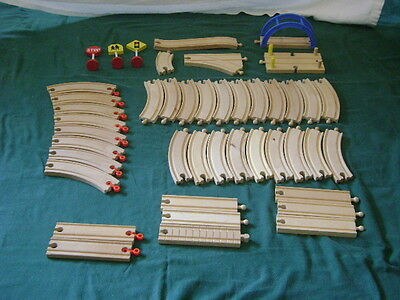 Wood Assorted Tracks Brio Thomas Compatible Curves Straights Large Lot 44 pcs