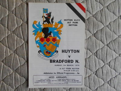 Huyton V Bradford Northern Rugby League Match Programme March 1974