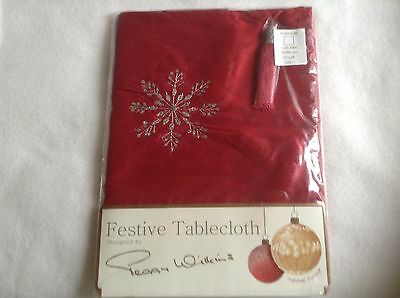 Ex Stock Peggy Wilkins Arabesque Red Tablecloth Christmas Embroidered W/ Sequins