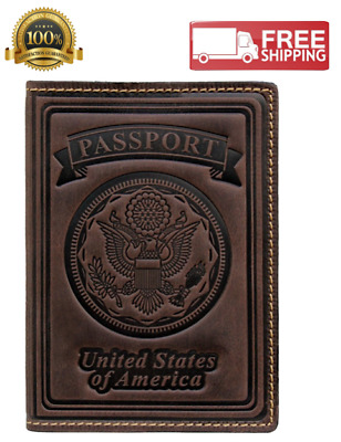 100% Leather US Passport Holder Cover Case For Men Women Vintage Brown