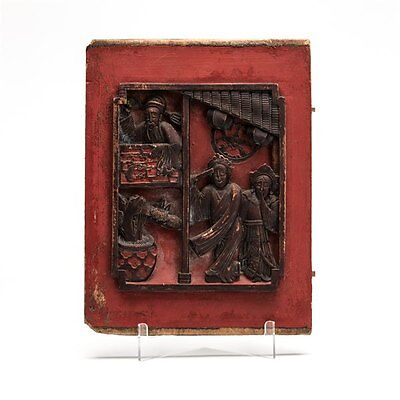 Antique Chinese Qing Lacquered Carved Wooden Figural Panel