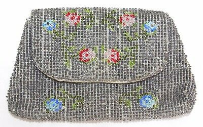 Antique BEADED Change COIN PURSE Grey Beads VIOLETS & ROSETTES Strap for Hand