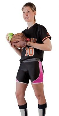 (Large, Black/Pink) - Cramer Women's Crossover Softball Sliding Shorts w/ Foam