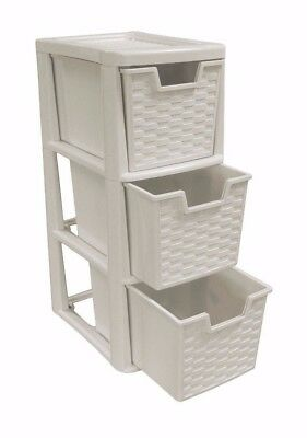 Rattan Style Plastic Small 3 Drawer Mushroom Tower Storage Unit for School Home