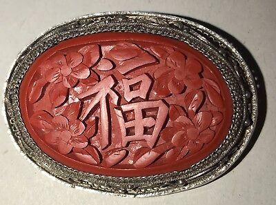 Vintage chinese Cinnabar and Enamel Pin brooch with silver