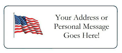 60 Personalized USA Flag Patriotic Return Address Labels