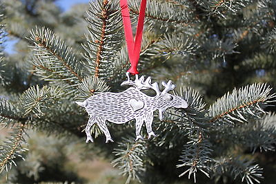 Hastings Pewter Lead Free Pewter Moose Ornament decoration holiday gift - New
