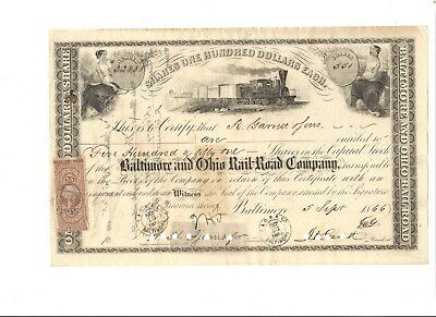 Civil War Era B&O Railroad Stock Certificate- R. Garrett & Sons- 1866