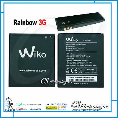 Batteria per WIKO Rainbow JAM 3G Barry Bloom Darknight 3,7V 2000MAH Ricambio