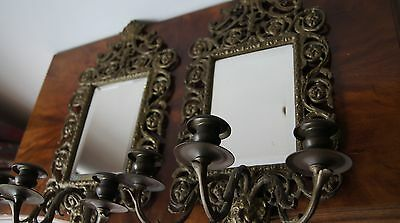 Antique french pair 1900 Bronze Brass Mirror Wall lights sconces