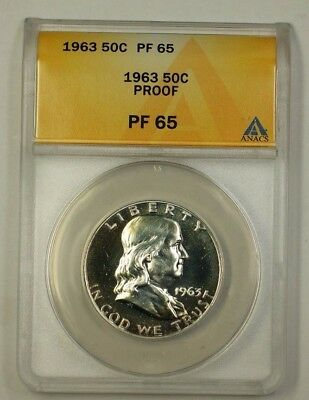 1963 Proof Franklin Silver Half Dollar 50c Coin ANACS PF-65 Lightly Toned (H)