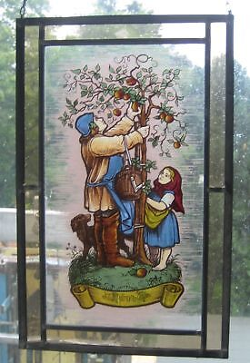 Antique 1930 German Stained Glass Window tree family fruit art deco nouveau