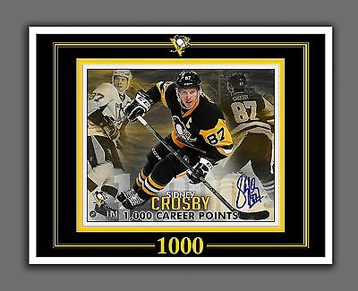 Sidney Crosby 1000 Points, Autographed Photo Replica, Glossy 8.5 by 11 in