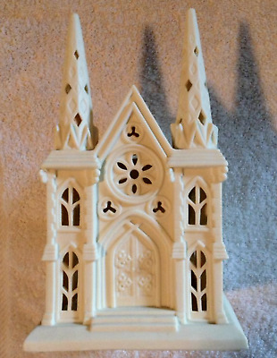 Partylite Christmas Cathedral White Bisque Collectible Vintage