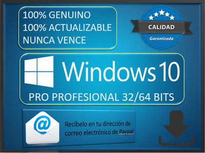 Windows 10 Pro 32/64 Bits key/ Clave 100% Genuina WIN 10 pro
