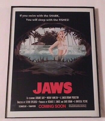 11 X 17 Framed 1970's Movie Poster JAWS (Swim With Sharks Sleep With The Fishes)