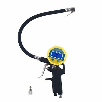 Air Tire Inflator with High Accurate LCD Digital Pressure Gauge with Clip Chuck