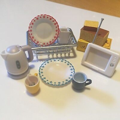 Rement Kitchen Lot Kettle Drying Rack Plate Tea Cup Cake 1:6 Scale