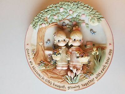 Precious Moments Gentle Blossoms Sisters Are Forever 3-D Sculpted Plate #1241A