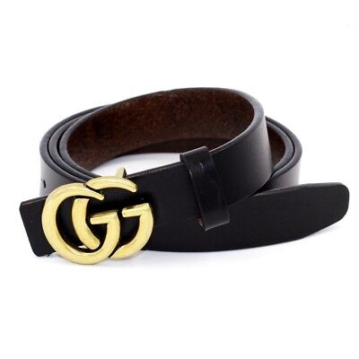 NEW Genuine Womens 0.9″ Wide Leather Thin Gold Buckle Black Jeans Belt GG Lett