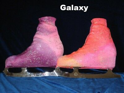 Ice Roller Skate Boot Covers Lycra Galaxy Foiled Pinks, Orange & Blues