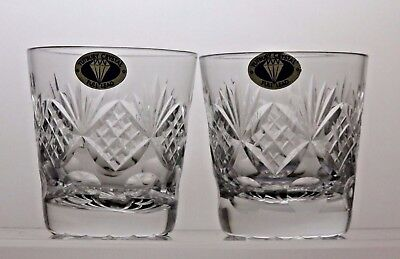 Tutbury Crystal Whisky Tumblers Set Of 2 Whiskey Flat Tumblers
