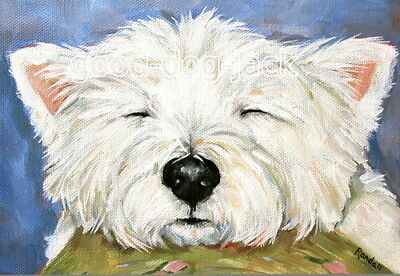 "West Highland Terrier WESTIE MATTED PRINT Painting ""COUCH POTATO"" Dog RANDALL"