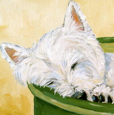"West Highland Terrier WESTIE MATTED SQUARE PRINT Painting ""MY BED"" Dog  RANDALL"