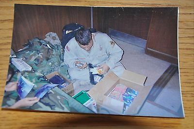 Iraqi Freedom OIF 1st Armored Photograph 5 x 7 MREs and Supply tallying