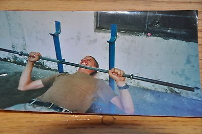 Iraqi Freedom OIF 1st Armored Photograph 5 x 7 bench pressing the bar