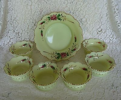 HEISEY Ring Band CUSTARD GLASS 7pc BERRY SET HandPainted ROSE FLOWERS Gold Trim