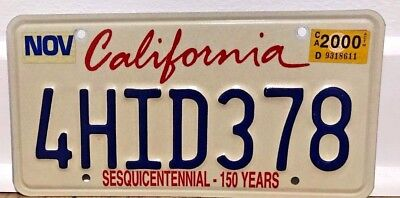 2000 California License Plate------------Sesquicentennial