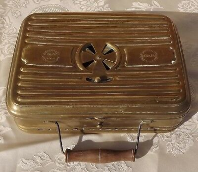 """French antique 1940 metal brass bed warmer """"chauferette"""" mid century décor"""