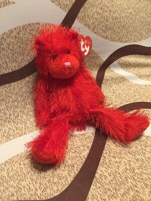 Sizzle The Red Bear   Ty Punkies  Retired New 9 Inches