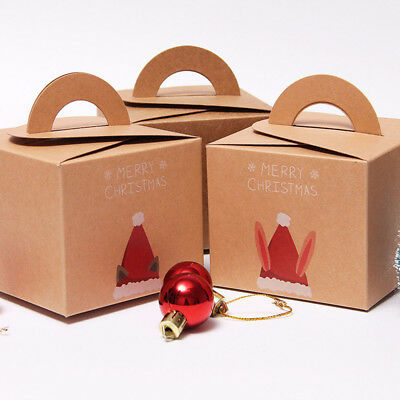 Christmas Eve Candy Apple Gift Box Brown Kraft Present Favou Boxes