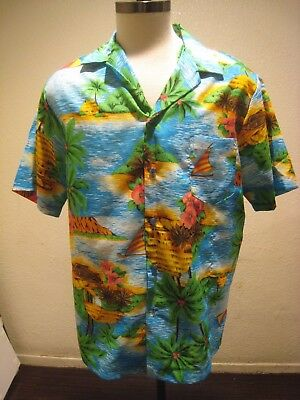 d8d08e6f Hilo Hattie Vintage Hawaiian Shirt Made in Hawaii Sailing Polyester Size L