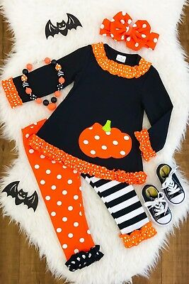 Halloween/Fall girls pumpkin  pant sets *Necklace Nt Incld Buy & get 2 Hair Bows