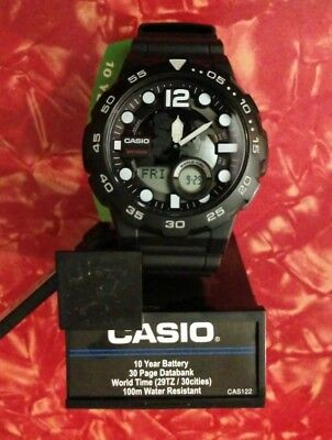 New Casio AEQ100W-1AV, Digital/Analog Combo, 3 Alarms, 30 Telememo, Resin