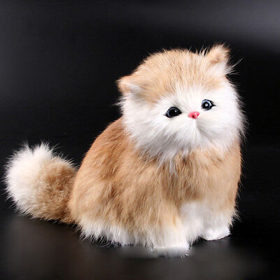 Artificial Plush Simulation Cat Vocal Animal Toy Handmade Sound Cat Doll Brown
