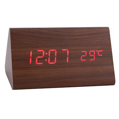 Home Digital Red LED Travel Alarm Clock Sound Control Thermometer -Brown