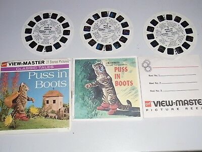 """Vintage 1968 View-Master Reels """" Puss in Boots"""" ( B 320) 3 Reels+ Booklet"""