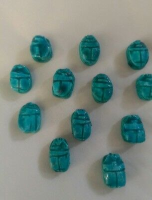 12 SCARAB Beetle Hand Carved Egyptian Ceramic Bead Pendants