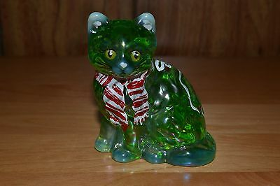 Mosser HP Signed Green Opalescent Christmas Kitten
