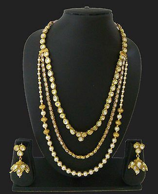 Indian Jewelry Long Rani Haar Necklace Bollywood Ethnic Gold Plated Traditional