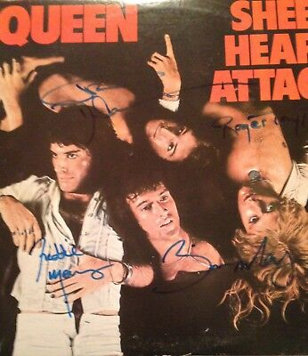 Queen Autographed LP Sheer Heart Attack Signed By All 4 Original