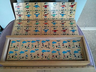 Vintage SIMPLEX sequencing wooden puzzle for kids, full set, made in Holland